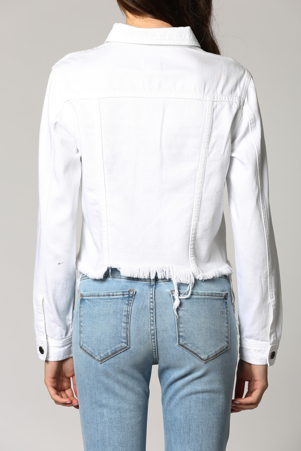 Hidden Brand Crop Fitted Fray Jacket - Side Cropped Image