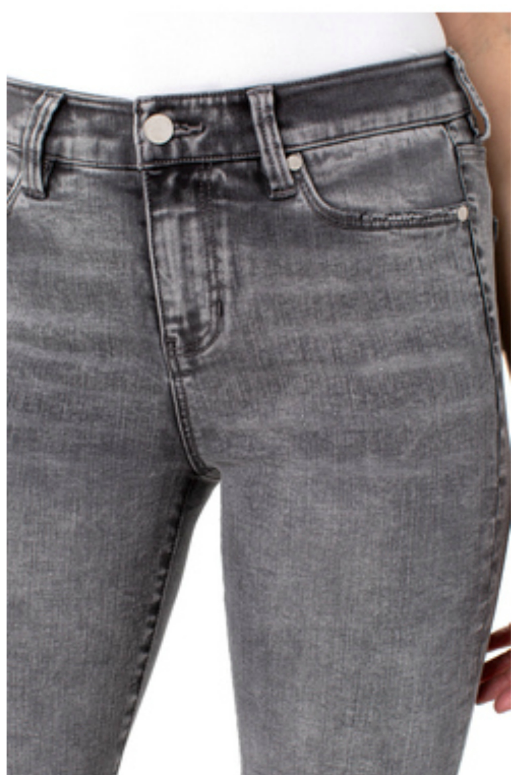 Liverpool  Crop Flare Patch Jean - Side Cropped Image