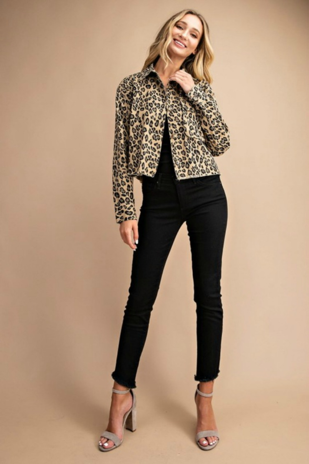 Trend Shop CROP LEOPARD JACKET - Front Full Image