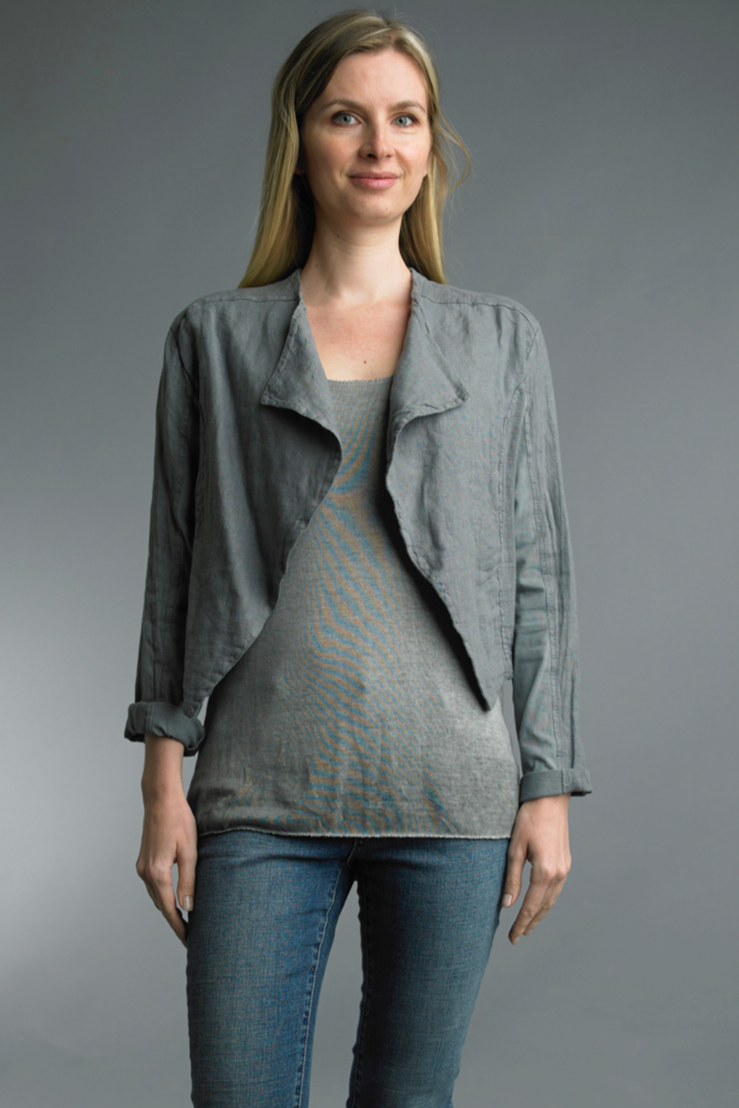 Tempo Paris  Crop Linen Shirt - Front Cropped Image