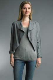 Tempo Paris  Crop Linen Shirt - Front cropped