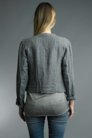 Tempo Paris  Crop Linen Shirt - Front full body