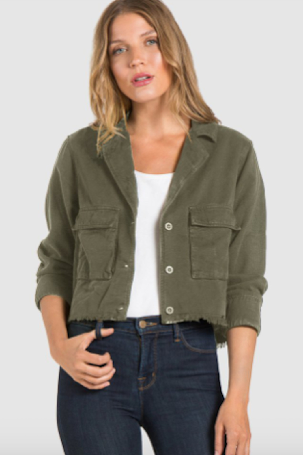 Bella Dahl Crop Military Jacket - Front Cropped Image