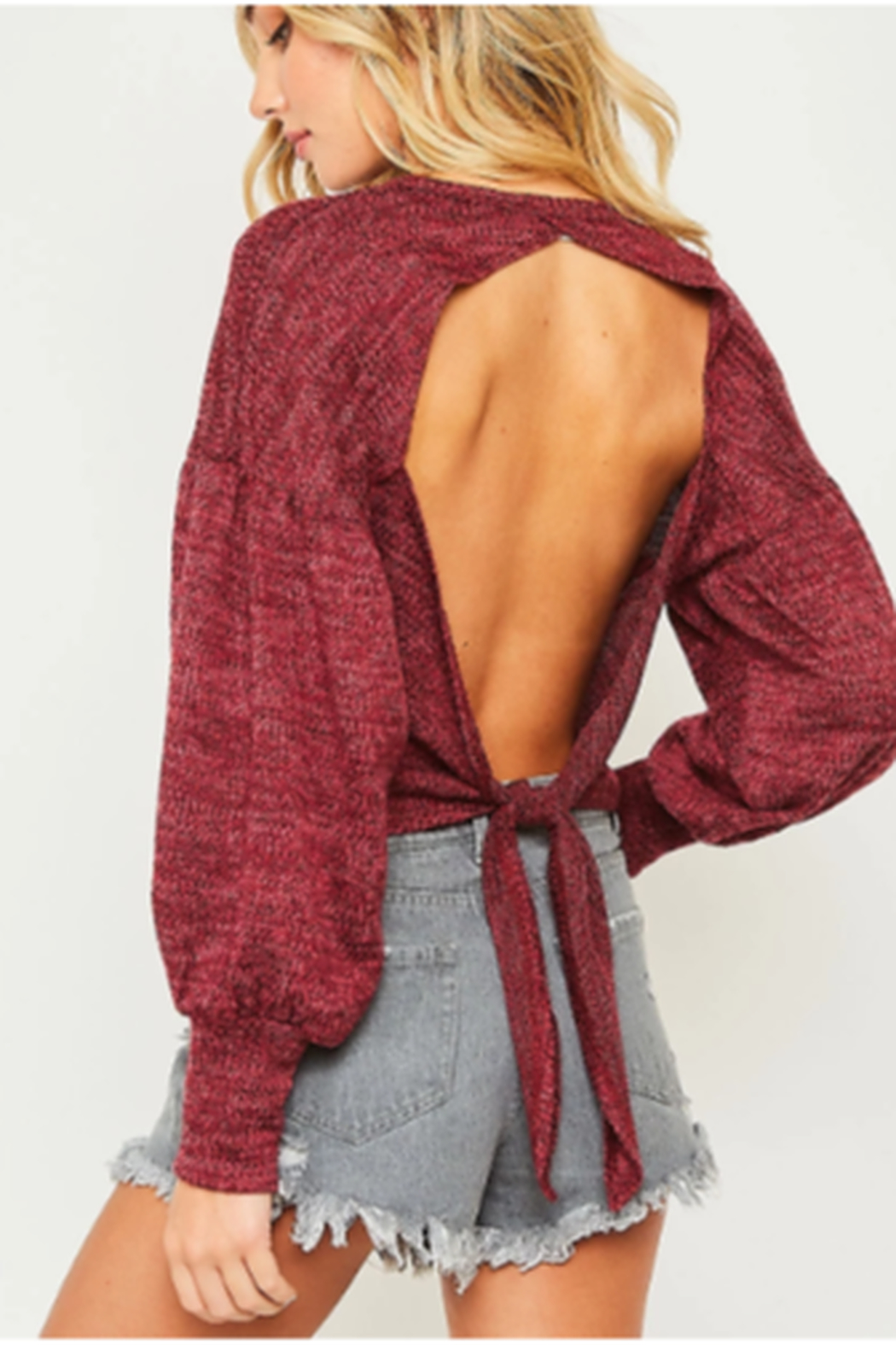 Peach Love Crop Open Back Sweater - Front Full Image