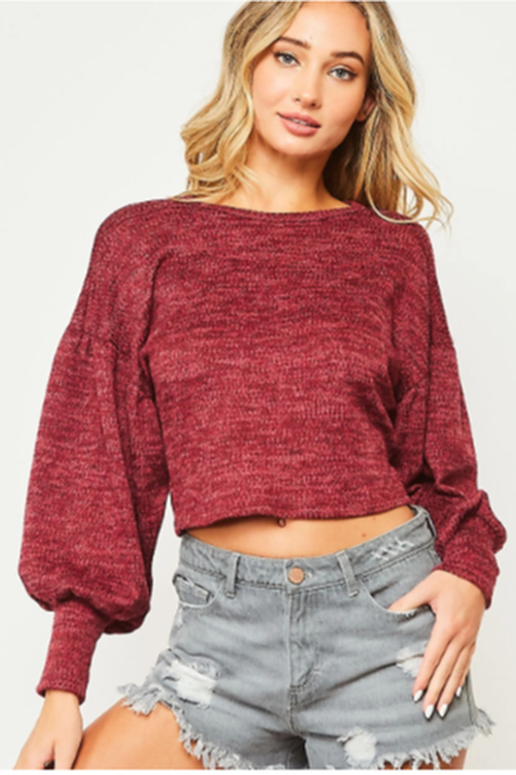 Peach Love Crop Open Back Sweater - Front Cropped Image