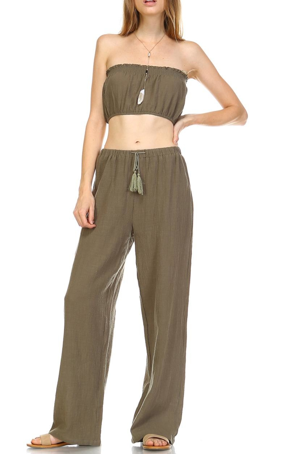 hers and mine Crop Pant Set - Front Full Image