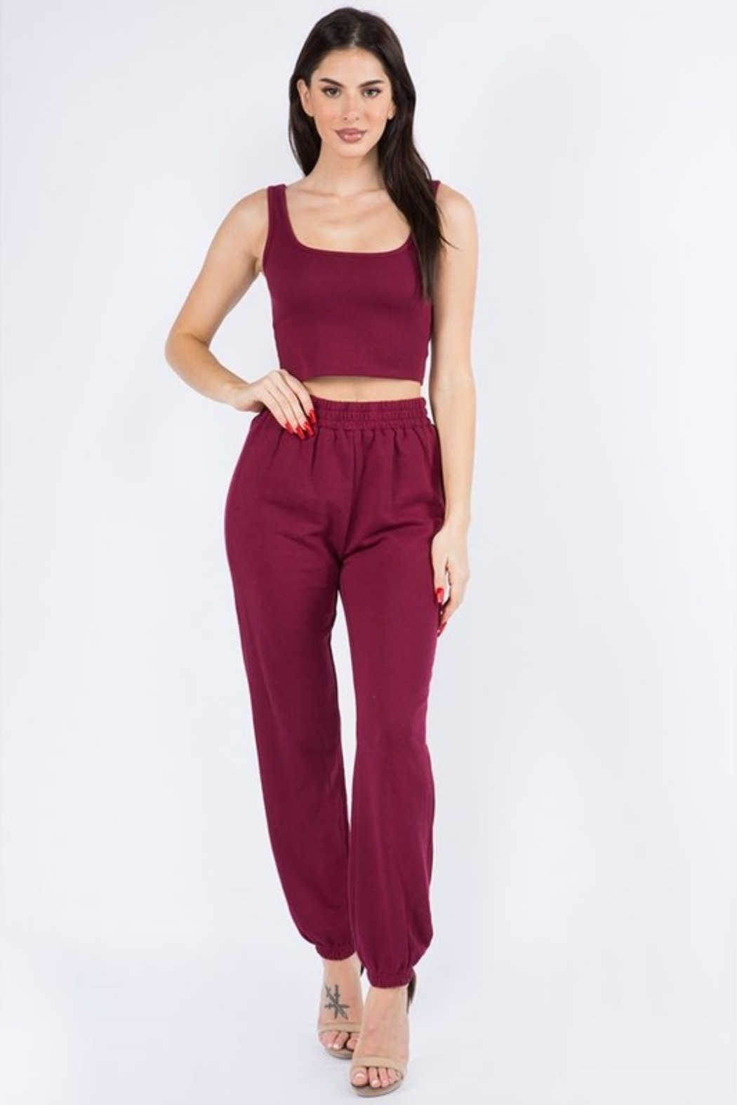 Bear Dance Crop Top and Lounge Pants Set - Side Cropped Image