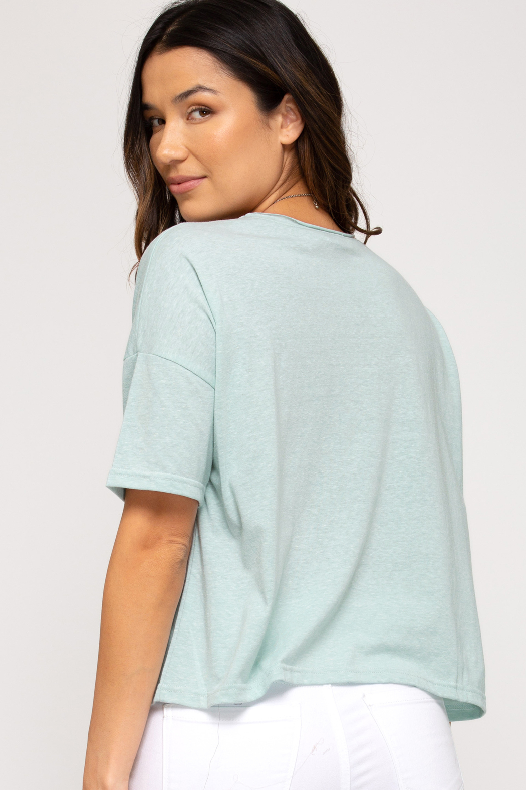 She and Sky CROP TOP TEE - Front Full Image