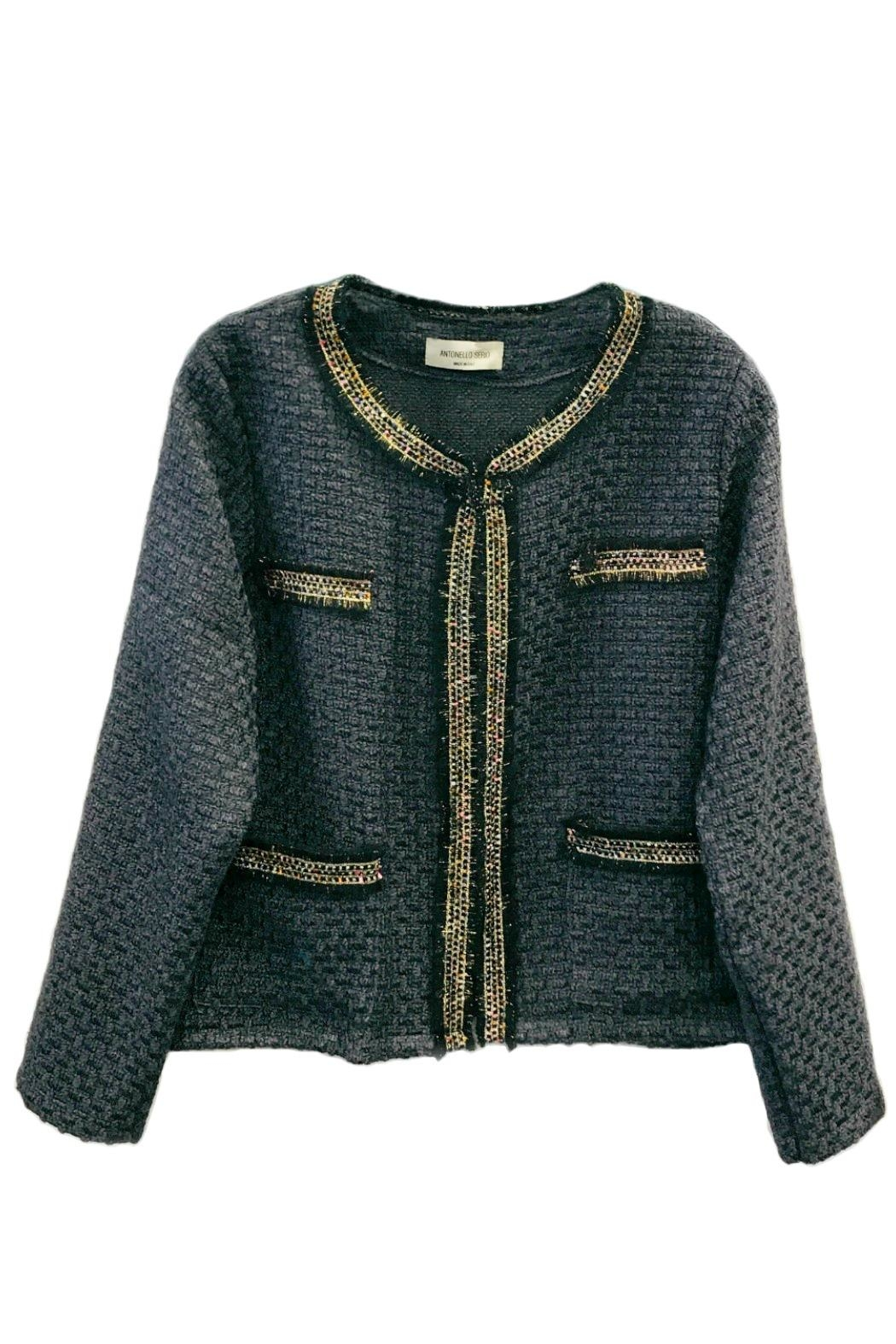 ANTONELLO SERIO Crop Tweed Blazer - Front Cropped Image