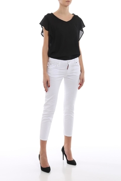Shoptiques Product: Crop-White Skinny-Mid-Waist