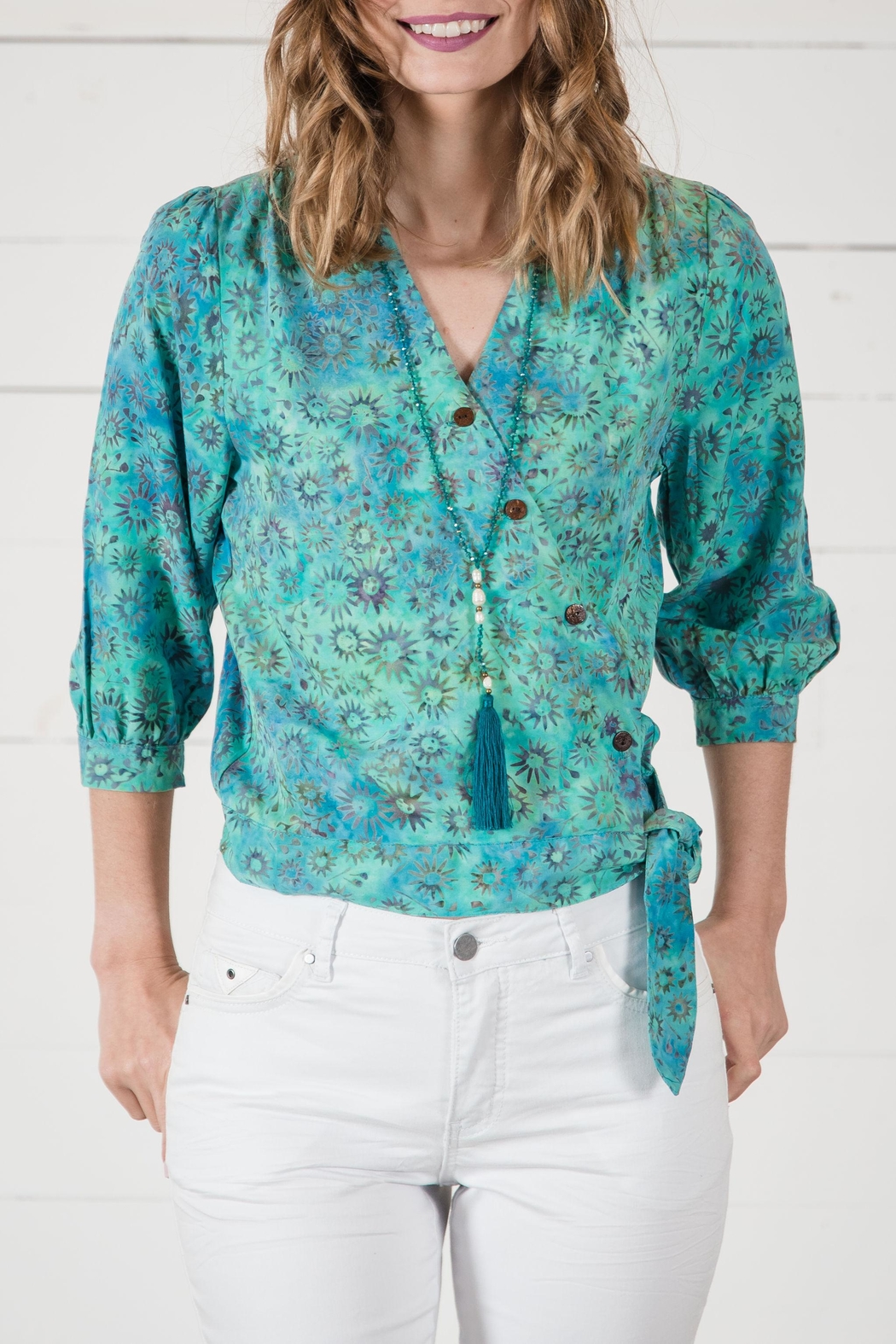 Go Fish Clothing Crop Wrap Blouse - Main Image