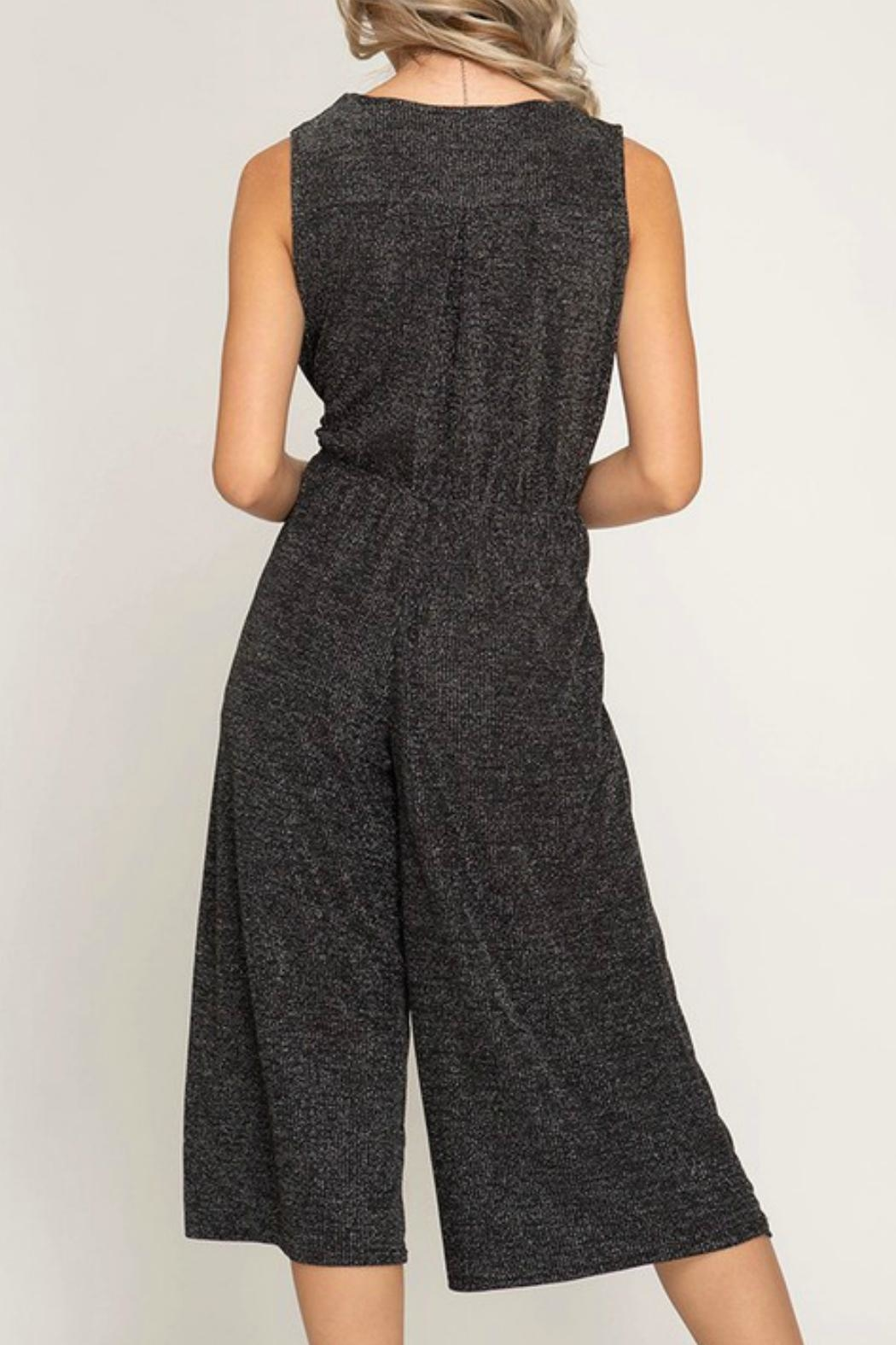 She + Sky Cropped Sparkle Jumpsuit - Front Full Image