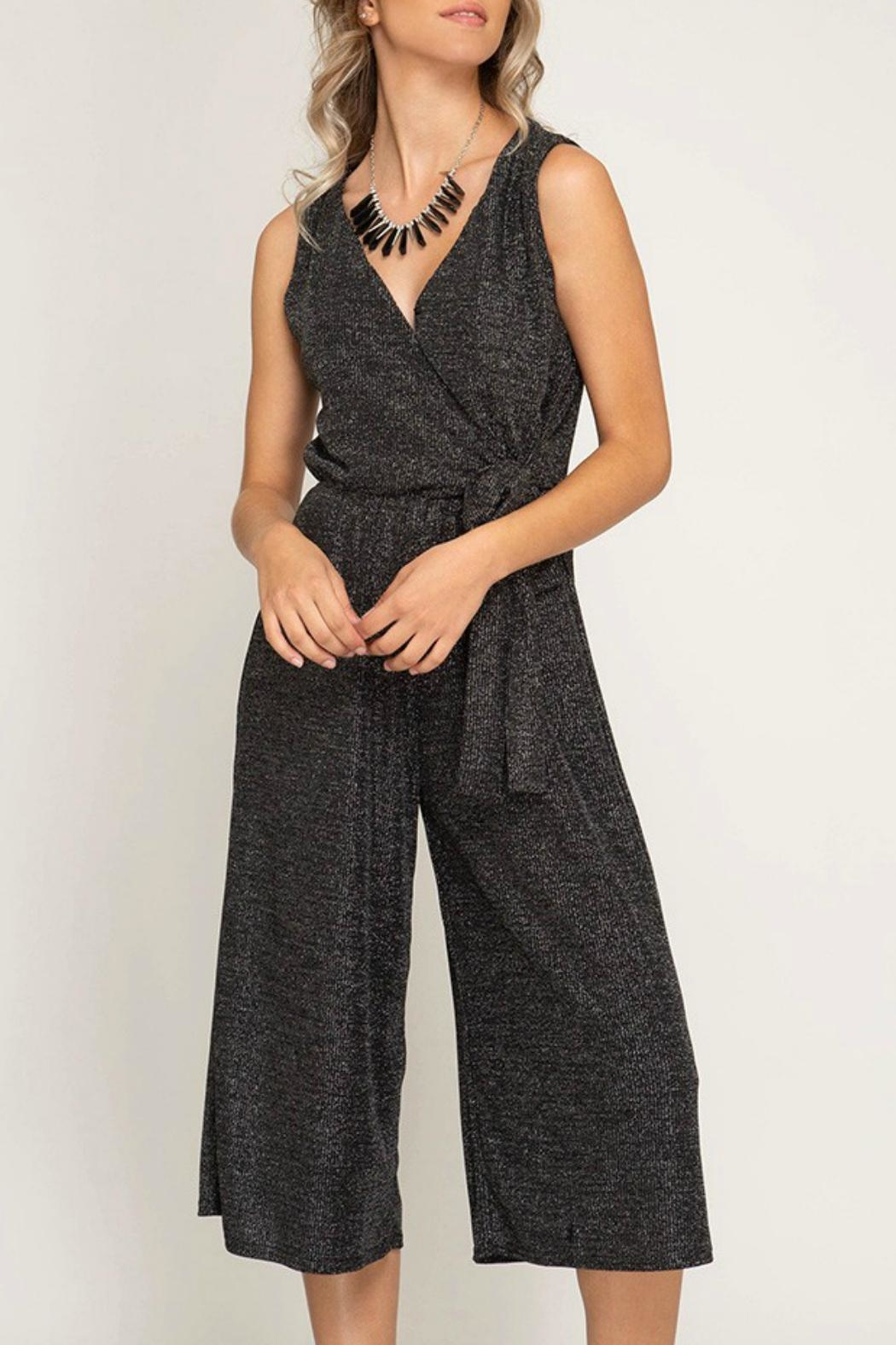 She + Sky Cropped Sparkle Jumpsuit - Main Image