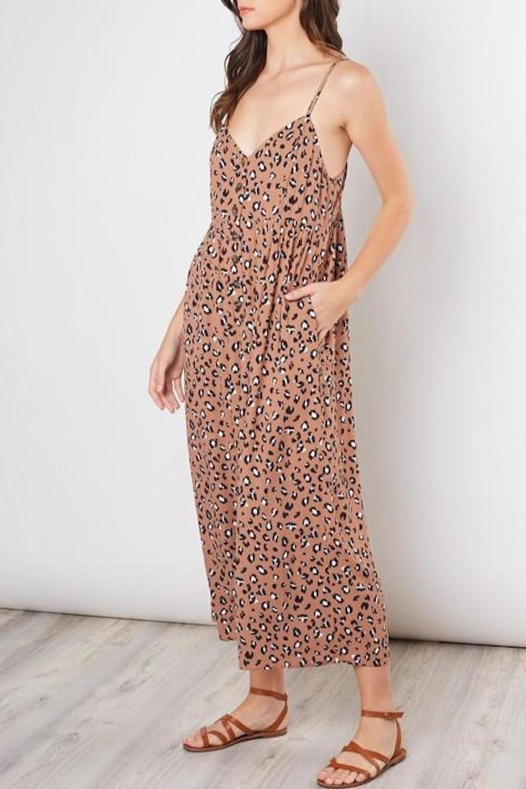 Mustard Seed Cropped Animal-Print Jumpsuit - Front Full Image