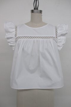 La Ven Cropped Baby Doll Ruffle Sleeve Blouse - Product List Image