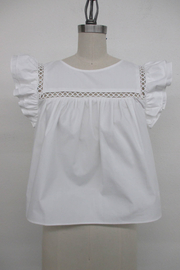 La Ven Cropped Baby Doll Ruffle Sleeve Blouse - Front cropped