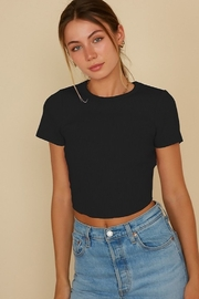 blue blush Cropped Baby Tee - Front cropped