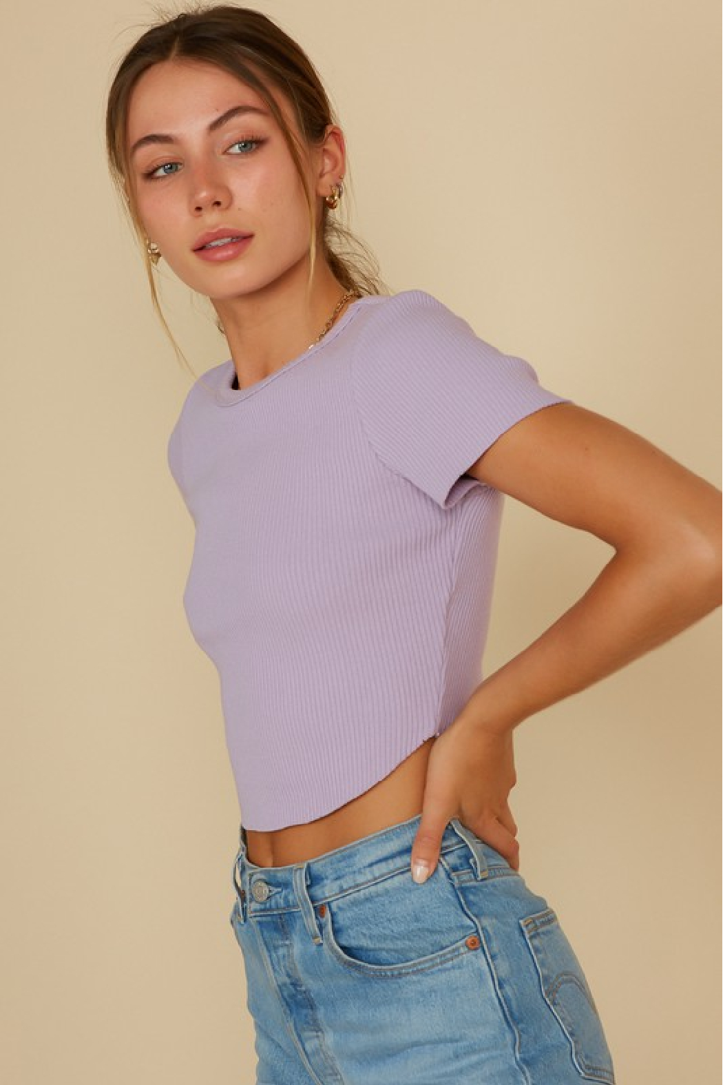blue blush Cropped Baby Tee - Front Full Image