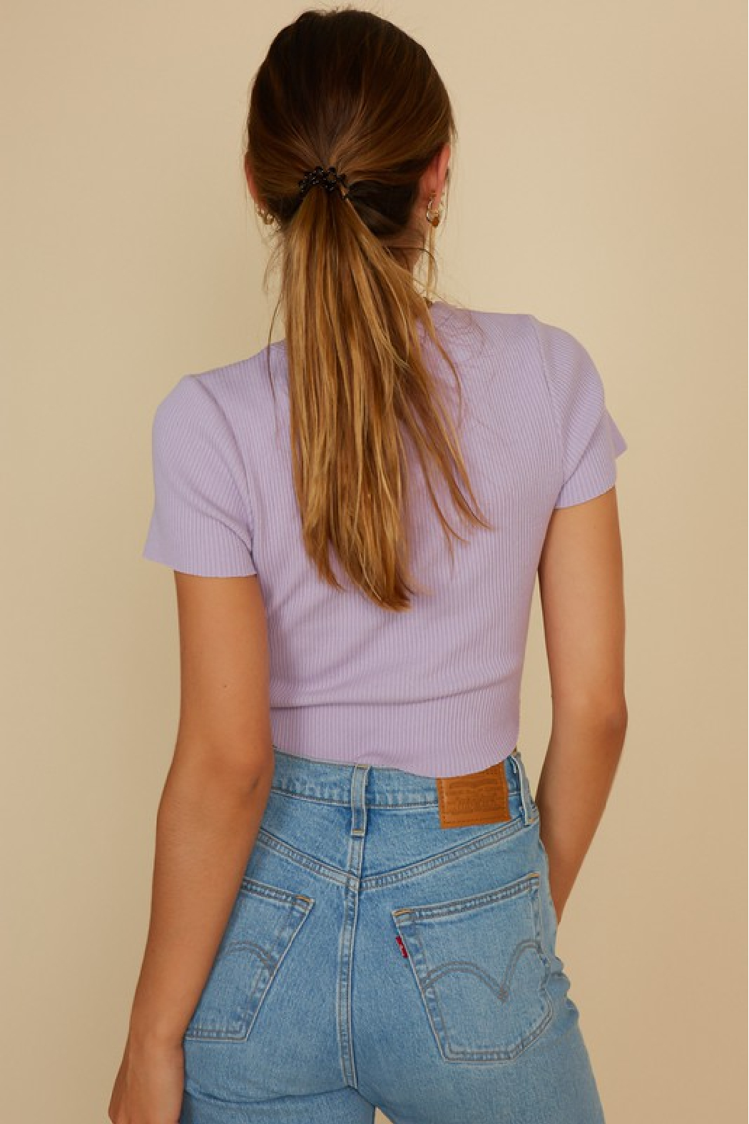 blue blush Cropped Baby Tee - Side Cropped Image