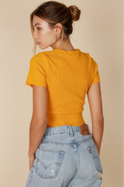 blue blush Cropped Baby Tee - Front full body