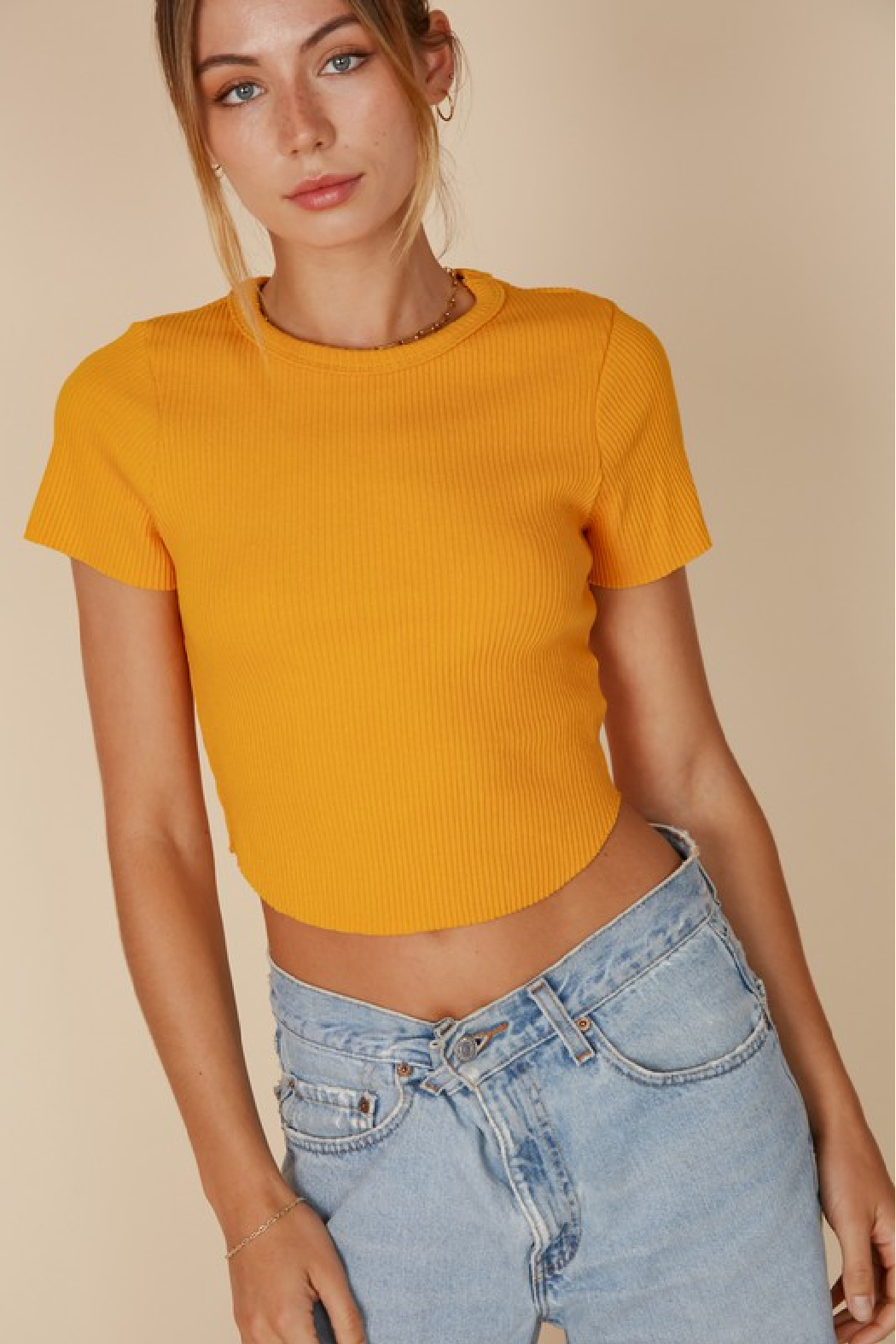 blue blush Cropped Baby Tee - Front Cropped Image