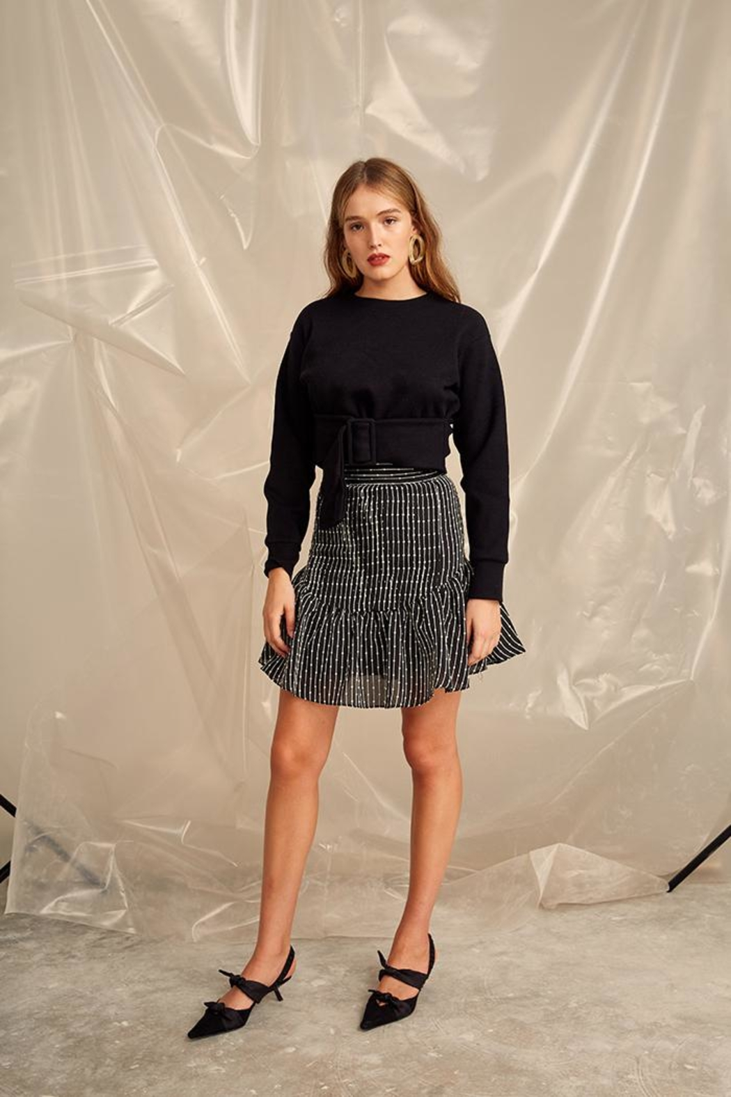 C/MEO COLLECTIVE Cropped Belt Sweater - Front Full Image