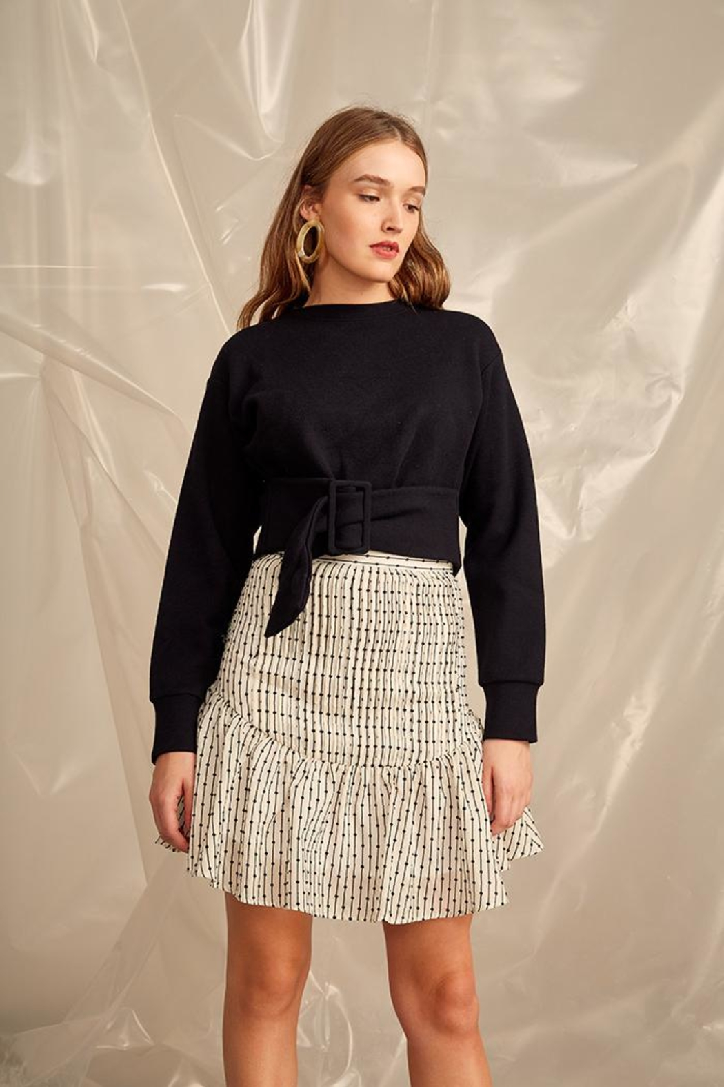 C/MEO COLLECTIVE Cropped Belt Sweater - Main Image
