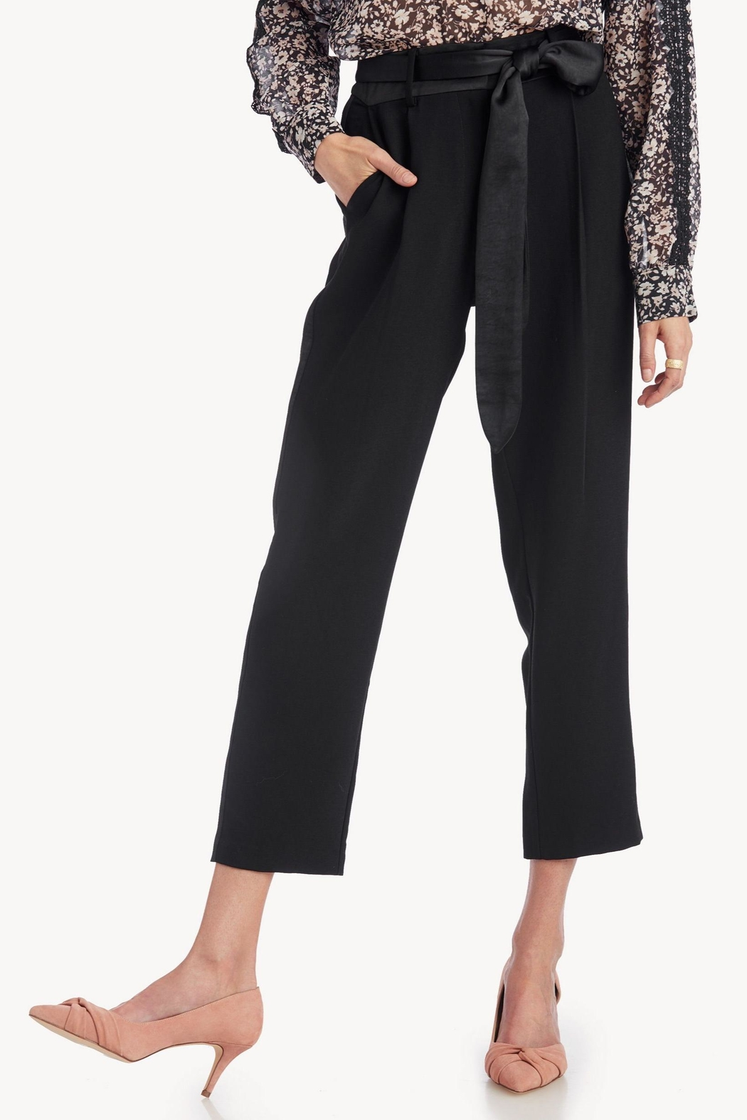 Greylin Cropped Belted Trouser - Front Full Image