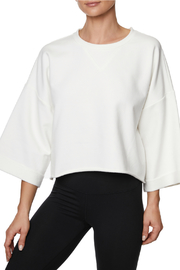 Betsey Johnson Cropped Boxy Roll Cuff Sweatshirt - Product Mini Image