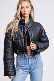 Emory Park Cropped Bubble Button Down Jacket - Product Mini Image