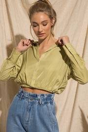 BaeVely Cropped Button Up Blouse - Product Mini Image