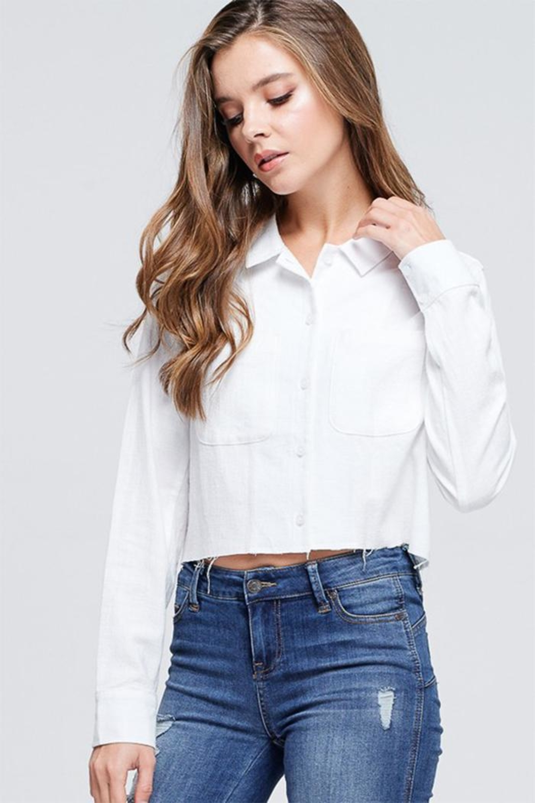 Emory Park Cropped Button Down - Front Full Image