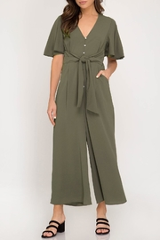 She + Sky Cropped Button-Down Jumpsuit - Product Mini Image