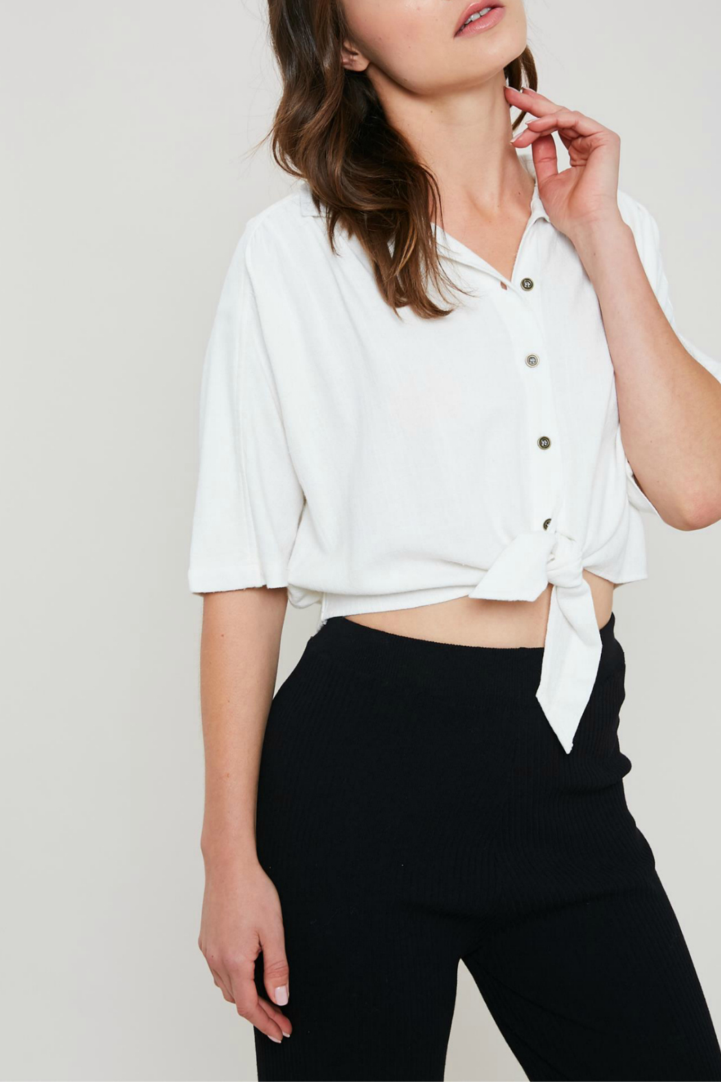 Wishlist Cropped button front shirt - Main Image