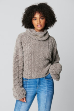 Blank NYC CROPPED CABLE KNIT TURTLENECK SWEATER - Product List Image