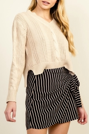 Olivaceous Cropped Cableknit Sweater - Product Mini Image