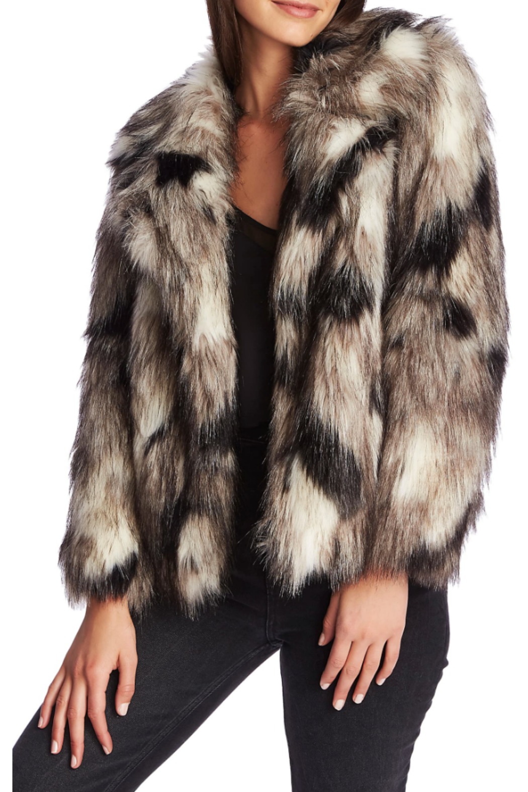 1. State Cropped coyote fur jacket - Front Cropped Image