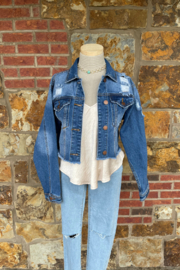 Soulstice Sky Cropped Denim Jacket w Hot Pink Lips & Distressed Details - Front full body