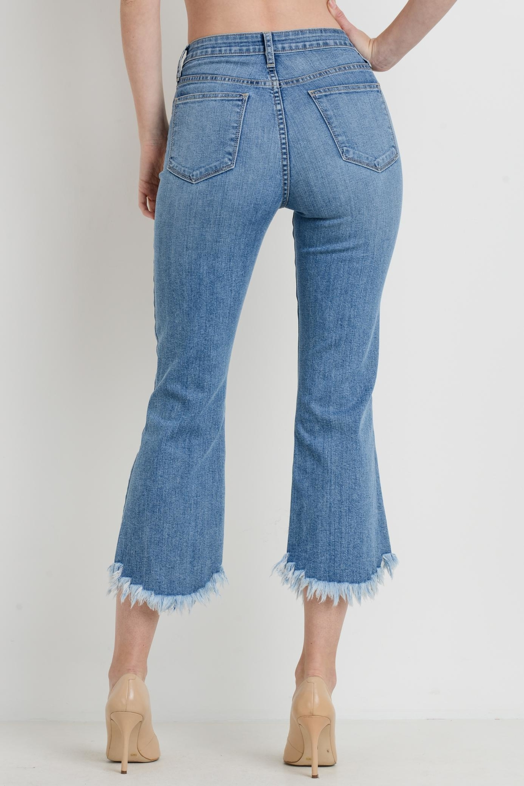 just black Cropped Flare Jeans - Side Cropped Image