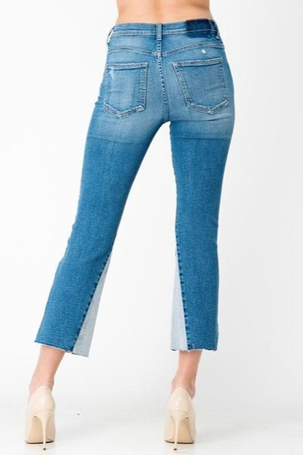 Sneak Peek Cropped Flare Two Toned Jeans - Side Cropped Image