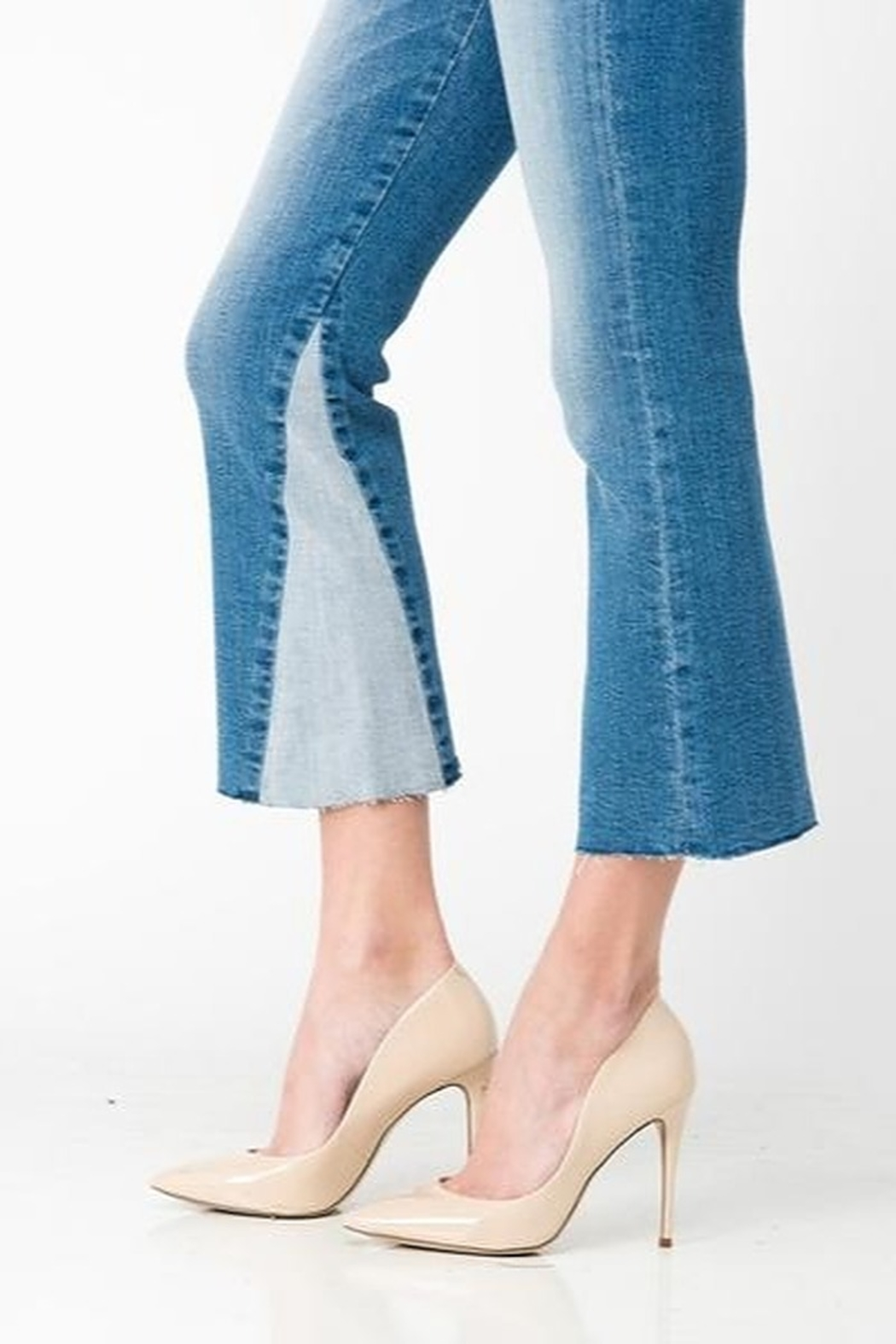 Sneak Peek Cropped Flare Two Toned Jeans - Back Cropped Image