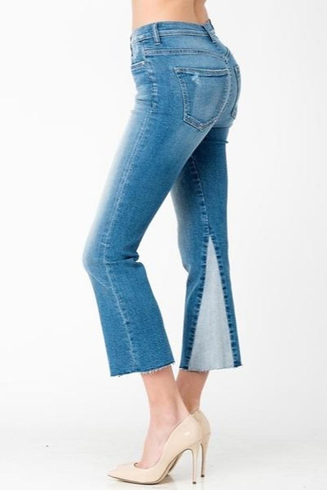Sneak Peek Cropped Flare Two Toned Jeans - Front Full Image