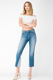 Sneak Peek Cropped Flare Two Toned Jeans - Product Mini Image