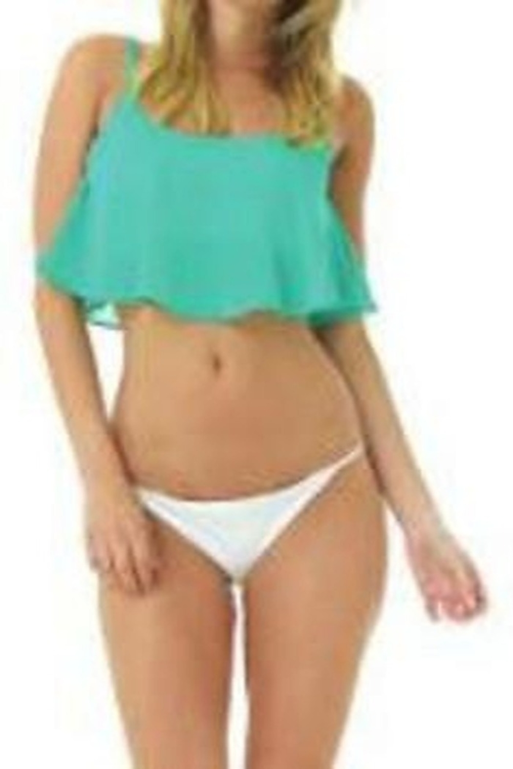 Lagaci Cropped Flounce Top - Front Full Image