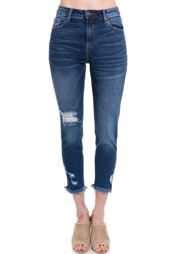Shoptiques Product: Cropped-Fray Skinny Jeans