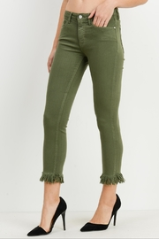 just black Cropped Fringed Skinny Jeans - Front full body