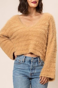 Dee Elly Cropped Fuzzy Sweater - Product List Image