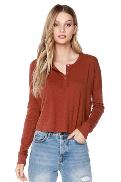 Bobi Los Angeles Cropped Henley Tee - Product List Image