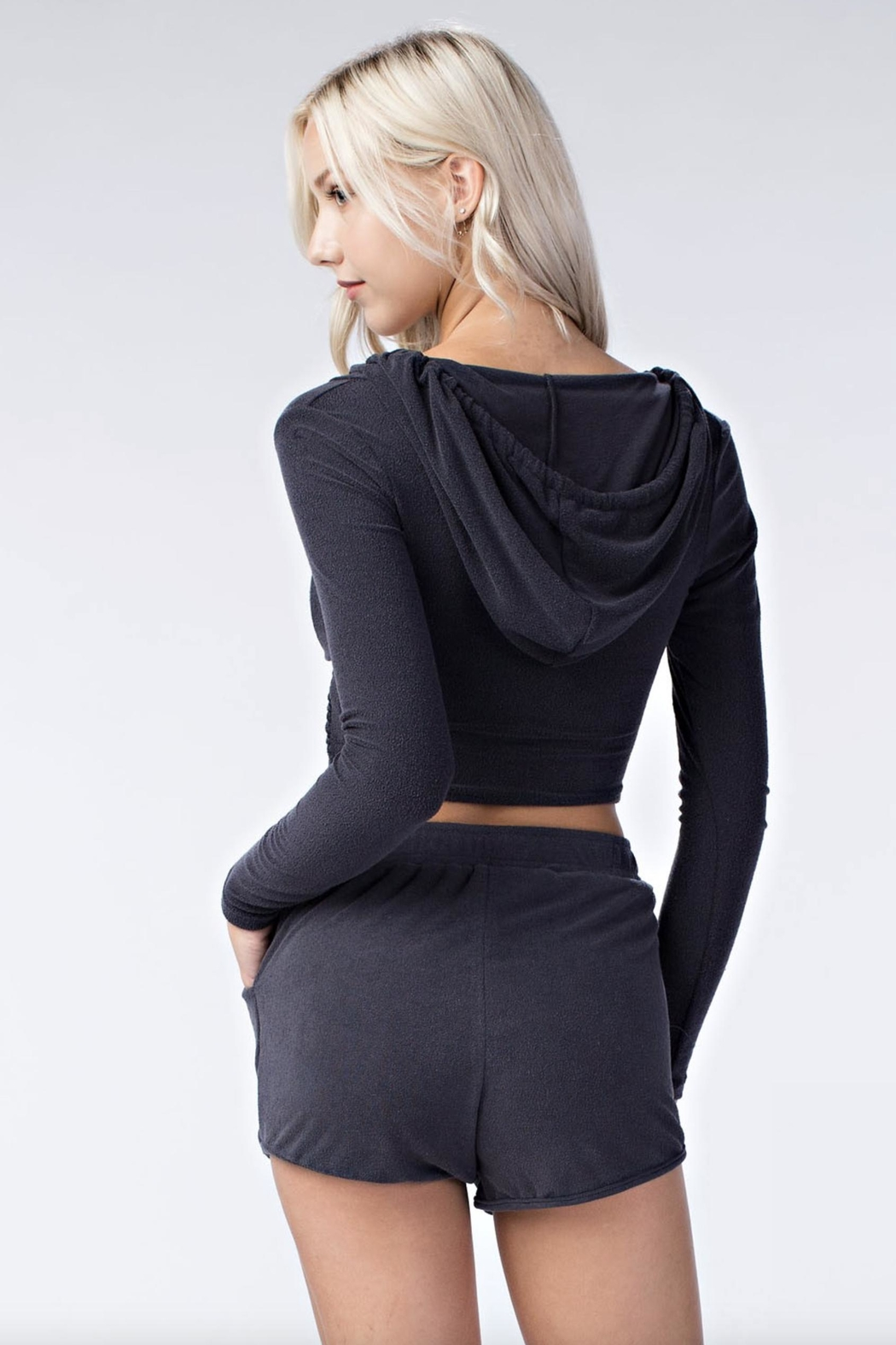 Honey Punch Cropped Hooded Sweater - Side Cropped Image