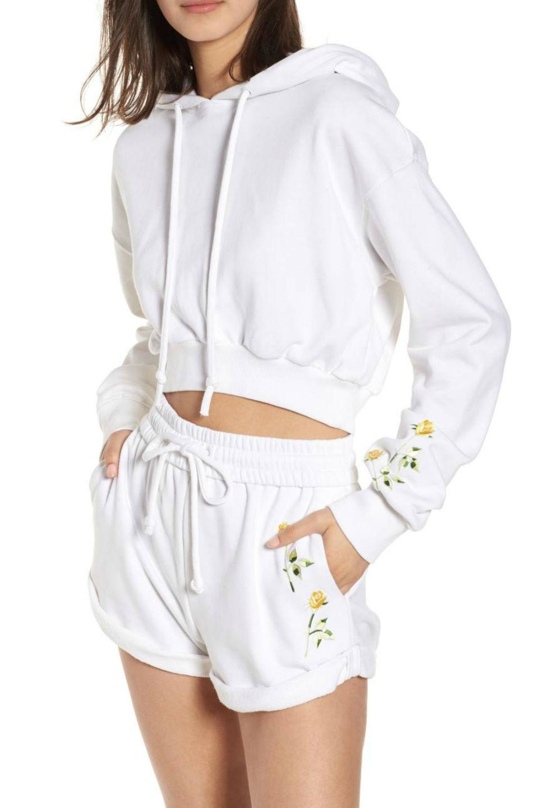 Kendall + Kylie Cropped Hoodie - Front Cropped Image